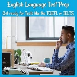 English Language Test Prep: Get ready for Tests like the TOEFL or IELTS.  Photo of a man studying at his computer with an open book next to him.
