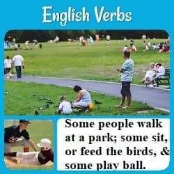 Photo of people in a park: 'Some people walk at a park; some sit, or feed the birds, & some play ball.'