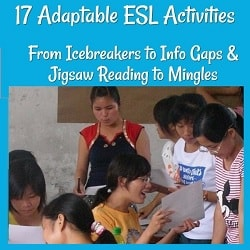 17 Adaptable ESL Activites, from Icebreakers to Info Gaps & Jigsaw Readings to Mingles Photo of students standing around a table working on an activity