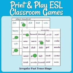 Print & Play ESL Classroom Games Picture of 2 irregular-past-tense bingo boards (with words like 'was', 'felt', 'did', 'had', etc.) & green tokens over words that have been called out.