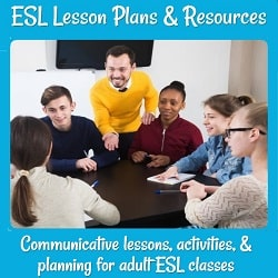 ESL Lesson Plans & Resources An ESL class talking around a table with their teacher standing by to help. 'Communicative lessons, activities, & planning for adult ESL classes'