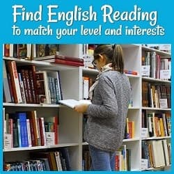 Find English Reading to Match Your Needs & Interests with a photo of a woman looking at a book in a library