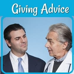 Photo of a doctor giving advice to a businessman.