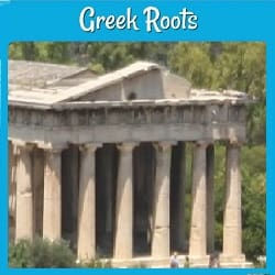 picture of an old Greek temple (the Parthenon)