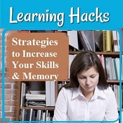 Young woman studying in a library. Text: Strategies to improve your skills & memory.