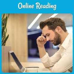 Online Reading, with a photo of a man reading on his computer