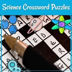 Picture of a crossword puzzle with some words completed, a pen, and some science symbols.