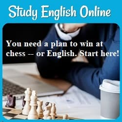 Study English Online: You need a plan to win at chess-- or English. Start here!  Photo of a man studying a chessboard.