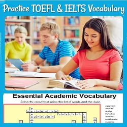 Several students studying in a library, with part of a crossword puzzle  'Practice TOEFL & IELTS Vocabulary' This image is a link to the page.