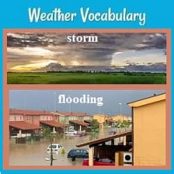 title (Weather Vocabulary) & labeled pictures of a storm and flooding.
