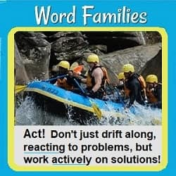 Photo of people riding through river rapids in boats with text: 'Act! Don't just drift along, reacting to problems, but work actively on solutions!
