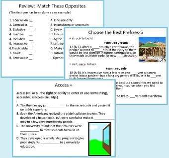 3 sample pages: a matching exercise, a page from 'Choose the Best Prefix,' & a page to practice forms of access (accessible, etc.)