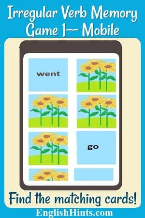 title plus a memory game demonstration, showing the matched set 'go' and 'went' turned over, one other card being tested, and backs of other cards. Text: 'Find the matching cards.'