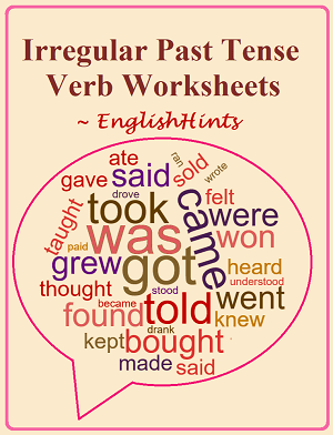 The title followed by a word cloud with irregular past tense verbs (took was, got, came, told, etc.) in various colors