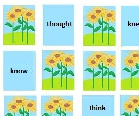 demonstration of part of irregular verb memory game 3 layout showing the fronts of cards for 'think' and 'thought', 'know' and 'knew.'