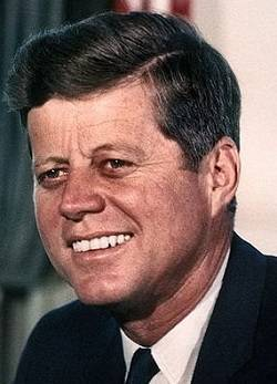 John F. Kennedy smiling-- a public domain photo