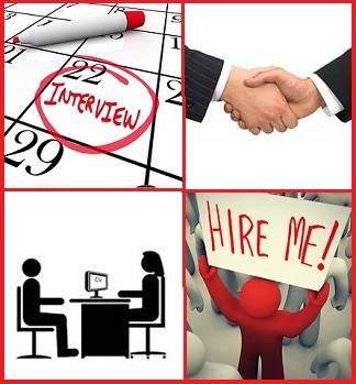 4 pictures related to job interviews: a scheduled interview on a calendar, a handshake, the interview itself, and the interviewee's feeling (a big sign saying
