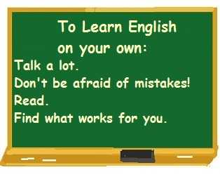 blackboard with hints on how to learn English on your own (taken from text.)