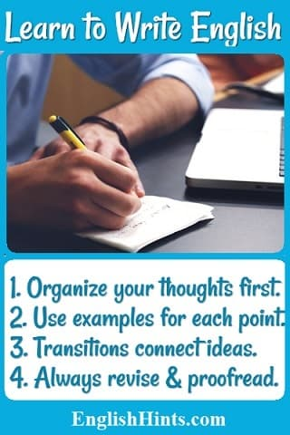 Man writing with a pencil next to a computer.  Text: '1. Organize your thoughts first.  2. Use examples for each point.  3. Transitions connect ideas.  4. Always revise & proofread.'