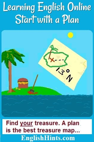 Picture of a desert island, a treasure being dug up, & a treasure map, with the words: 'Find your treasure. A plan is the best treasure map///'