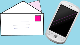 pictures of a letter and a cell phone