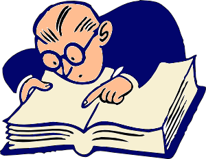 cartoon of a man looking up a word in a dictionary