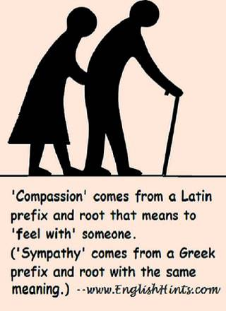Silhouette of an older couple, man with a cane and a woman supporting him, with a discussion of the meanings of compassion and sympathy-- feeling with another.