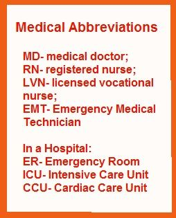 medical abbreviations: MD, RN, EMT, ER., ICU, CCU.