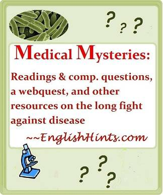 cover of the Medical Mysteries readings, worksheets, and webquest packet, with title, question marks, and pictures of bacteria & a microscope