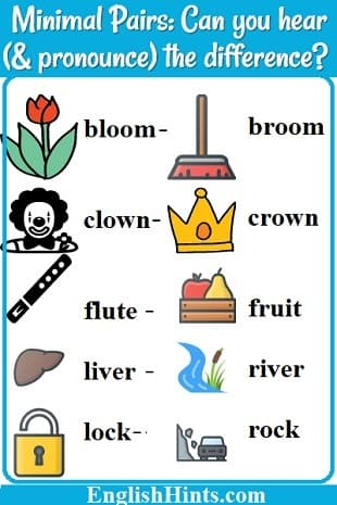 Pictures of some minimal pairs for L & R: bloom- broom, clown- crown, flute- fruit, liver- river, & lock-  rock.