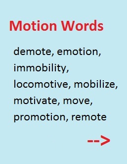 Motion words (from the root movere)-- including demote, emotion, immobility, locamotive, mobilize, motivate, move, promotion, and remote