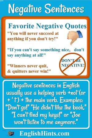 3 favorite negative quotes (including 'Winners never quit & quitters never win.') Then an explanation of negative sentences with examples: 'Don't go!' 'I can't find my keys,' etc.