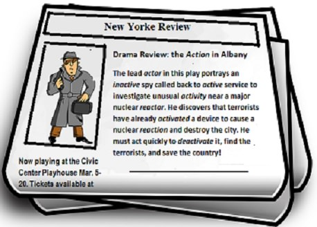 newspaper with a drama review using many forms of the word 'act.'