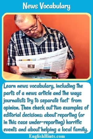 Man reading a newspaper. Text: Learn news vocabulary including the parts of a news article & the ways journalists try to separate fact from opinion. Then check out 2 examples of editorial decisions.