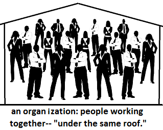 silhouettes of people under a roof with a caption: an organization: people working together