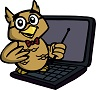 EnglishHints owl logo-- a teaching owl with glasses and a pointer sitting on a laptop computer