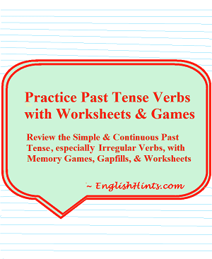 title & description of the packet on a green background over lined paper ('Review the simple & continuous past tense, especially irregular verbs, with memory games, gap fills, & worksheets.')