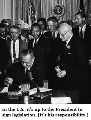 photo of president (LBJ) signing the Civil Rights Act with text explaining that it's 'up to' the president to sign legislation.