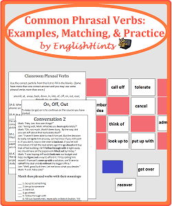 picture of the cover for the pdf Common Phrasal Verbs