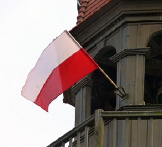 a photo of the Polish flag flying