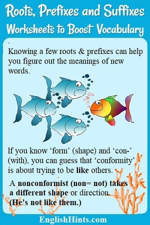 Image: 4 fish with one swimming in the opposite direction.  'Form'= shape & 'con'= with,  so conformity is trying to be like others. A nonconformist takes a different shape or direction.