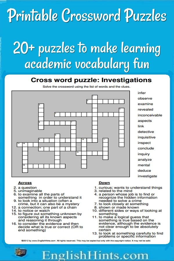 Printable Crossword Puzzles With Related Practice