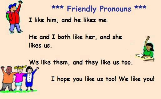 Demonstration of subject and object pronouns:
