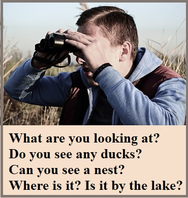 man in a marsh looking through binoculars, with questions: What are you looking at? Do you see any ducks? Can you see a nest? Where is it? Is it by the lake?
