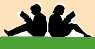 silhouette of two readers