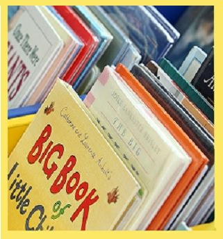 Colorful bins of picture books: one source of short, easy reading for ESL beginners.
