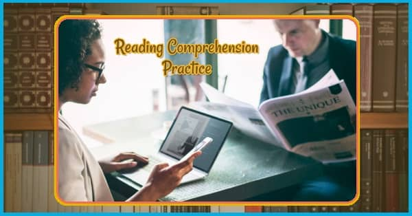 Picture of a man and a woman reading, with the text: Reading Comprehension Practice