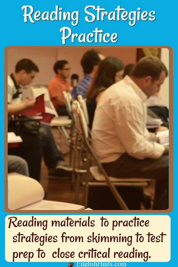 Picture of adult students reading in a classroom, with the text 'reading materials to practice strategies from skimming to test prep to close critical reading.'