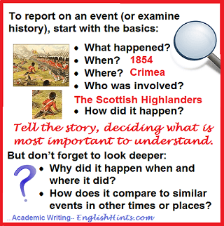 Basic questions that need answers as you write (what happened?, when? where? who?)-- and questions that require analysis-- how & why? (illustration: Crimean war.)