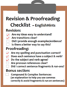 cover for the Revision and Proofreading Checklist pdf.
